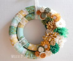 Double wrapped fabric wreath with fabric and by WreathsByEmmaRuth
