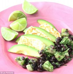 Grilled halloumi and avocado with black bean and cucumber salad