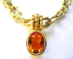 Vintage Amber Glass Drop Gilded Snap Clasp Necklace by JoolsForYou