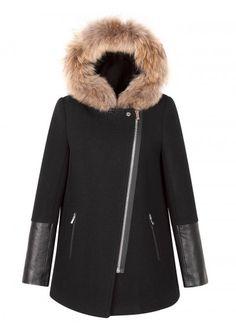 Sandro Maddy Fur-Hood Coat
