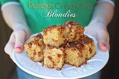 Pumpkin Cinnamon Chip Blondies by kleinworthco.com Yum!