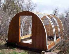 Bent Cattle Panels as Greenhouse. Cover with plastic sheeting. In cold weather, two layers of plastic with air blown between layers provides quite a bit of insulation. Best Greenhouse, Greenhouse Plans, Greenhouse Cover, Large Greenhouse, Outdoor Greenhouse, Greenhouse Gardening, Gardening Tips, Cattle Panels, Cold Frame