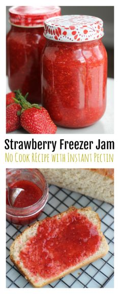 It's strawberry season! Make a batch of fresh and delicious 30 minute strawberry freezer jam recipe made with instant pectin. No cooking or heating! Mix sugar and pectin in with your fresh berries---that's it! Double or triple the recipe to make up to 6 ( Strawberry Jam Recipe Without Pectin, Strawberry Jelly Recipes, Strawberry Freezer Jam, Mixed Berry Jam Recipe With Pectin, Strawberry Preserves, Freezer Jam Recipes, Cooking Recipes, Freezer Cooking, Drink Recipes