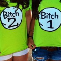 Bitch 1 Bitch 2  SLIM FIT Halloween Costume Shirt...I would totally wear this with my bestie