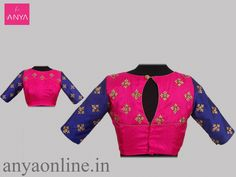 Blouses That Complete Your Flawless Bridal Look! Pink Saree Blouse, Blue Saree, Saree Blouse Designs, Designer Blouse Patterns, Design Patterns, Simple Embroidery Designs, Work Blouse, Indian Designer Wear, Bridal Looks