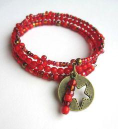 Star Bracelet Red Memory Wire £10.00