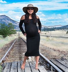 Yoga Mom Du Jour Calf Length Maternity Body Con Pregnancy Sweater Dress Luxurious & Comfortable Made In USA