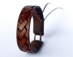 Adjustable braided brown leather bracelet by Makete on Etsy