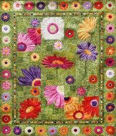 Full Bloom Quilt Pattern by Fourth & Sixth Designs Batik Quilts, Applique Quilts, Quilt Kits, Quilt Blocks, Patch Quilt, Paper Piecing, Flower Quilts, Thread Painting, Block Of The Month