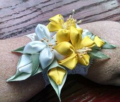 Corsage with kanzashi flowers