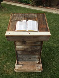 Custom pulpit made with rustic barn wood.