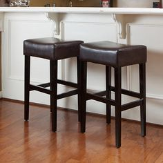 online shopping for Christopher Knight Home Lopez Brown Leather Backless Bar Stools (Set from top store. See new offer for Christopher Knight Home Lopez Brown Leather Backless Bar Stools (Set Brown Leather Bar Stools, Brown Bar Stools, Wooden Bar Stools, Wood Stool, Kitchen Stools, Counter Stools, Kitchen Cook, Wooden Kitchen, Kitchen Reno