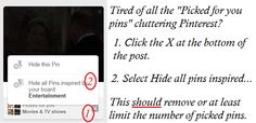"""I got tired of all the """"picked for"""" pins on my board so I researched how to get rid of them. Problem solved... I hope."""