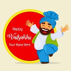 Write Your Name on Happy Baisakhi Festival Greeting.Make Vaisakhi Name Card.Cute E-Card For Baisakhi Festival Wishes With Friend Name. Baisakhi Festival, Classroom Board, Bulletin Board, Happy Baisakhi, Makar Sankranti, Indian Festivals, Tree Crafts, Menu Design, Your Name