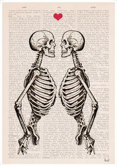Wall art Skeleton Couple Love art gift husband gift by PRRINT Skeleton Love, Skeleton Art, Art Amour, Human Anatomy Art, Grafik Design, Antique Books, Skull Art, Couple Gifts, Love Art