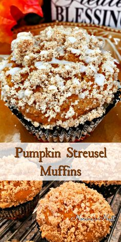 Streusel Muffins Moist spiced Pumpkin muffins with cinnamon Crumb topping and glaze. The perfect fall muffin!Moist spiced Pumpkin muffins with cinnamon Crumb topping and glaze. The perfect fall muffin! Tolle Desserts, Köstliche Desserts, Delicious Desserts, Dessert Recipes, Breakfast Recipes, Breakfast Muffins, Mini Muffins, Spiced Pumpkin, Pumpkin Recipes