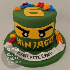 Custom Cakes in Montreal Ninja Lego Cake, Ninja Birthday Cake, Lego Ninjago Cake, Ninjago Party, Custom Birthday Cakes, Lego Birthday Party, Custom Cakes, Fondant Cakes, Cupcake Cakes
