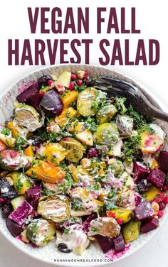 This vegan Fall harvest salad is a must-make this season. Great year-round too! Topped with a creamy tahini maple dressing. Gluten-free.