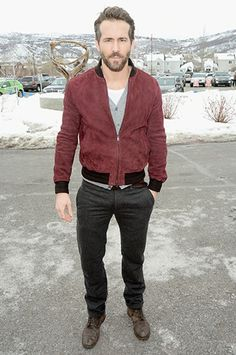 Ryan reynolds wearing bomber jacket, cardigan and wool trousers. #autumn #style