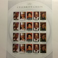 CELEBRITY. CHEFS 20 forever stamps PLATE POSITION MIDDLE RIGHT