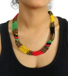 African Zulu beaded short necklace  Rasta colours