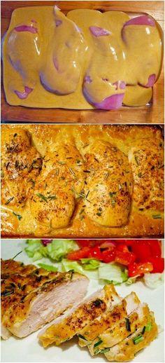 4 sin hueso, sin piel pechugas de pollo 1/2 taza de mostaza Dijon 1/4 taza de jarabe de arce 1 cucharada de vinagre de vino tinto Sal y pimienta romero - Ver más en: http://www.latestfood.com