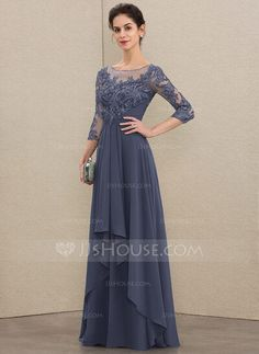 A-Line Scoop Neck Floor-Length Chiffon Lace Mother of the Bride Dress With Cascading Ruffles - Mother of the Bride Dresses - JJ's House Mob Dresses, Event Dresses, Wedding Party Dresses, Fashion Dresses, Bridesmaid Dresses, Mother Of The Bride Dresses Long, Mothers Dresses, Robes D'occasion, Lace Evening Dresses