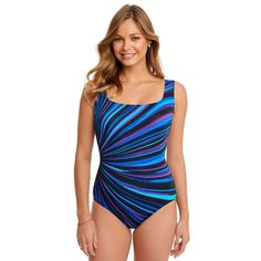 3bcd7084f6 Swimsuits · Women s Great Lengths Tummy Slimmer Striped One-Piece Swimsuit