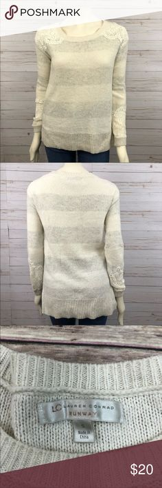 Lauren Conrad striped knit lace cuff sweater LC Lauren Conrad knit sweater.  Cream & oatmeal striped  Cream lace cuffs and shoulders Note: lace area did have small hole, has been sewn. Picture provided LC Lauren Conrad Sweaters