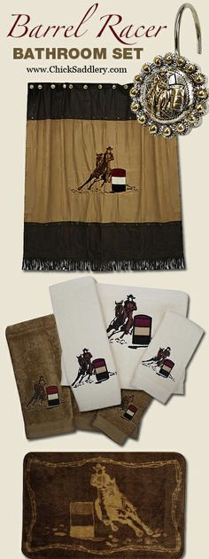 Barrel Racer Bathroom Set - Shower Curtain, Shower Hooks, 3-Piece Towel Set, Floor Mat | ChickSaddlery.com