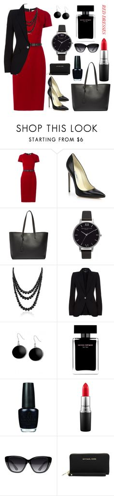 """Red Dress Outfit"" by jesstyle80 on Polyvore featuring Victoria Beckham, Brian Atwood, Yves Saint Laurent, Olivia Burton, Bling Jewelry, Alexander McQueen, Karen Kane, Narciso Rodriguez, OPI and MAC Cosmetics"
