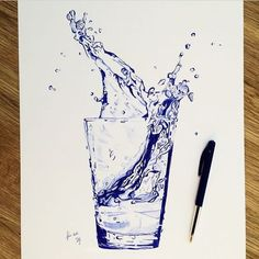 Bic pencil drawing glass of water Concepci n Allamand n Ink Pen Art, Ballpoint Pen Drawing, Cool Art Drawings, Pencil Art Drawings, Realistic Drawings, Art Sketches, Water Drawing, Water Art, Drawing With Pen