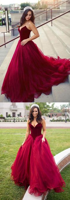 Fashion A Line Burgundy Tulle Bodice Long Prom Dresses Evening Gown Formal Dress LD1186 #promdresses #laurashop #promdress #burgundypromdress