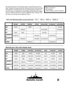 spanish regular er ir preterite battleship batalla naval verb forms spanish and students. Black Bedroom Furniture Sets. Home Design Ideas