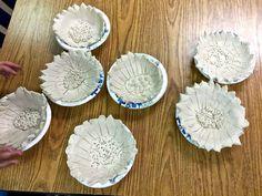 Vincent Van Gogh part 1: sunflower bowls. Clay techniques, post impressionism, texture, still life.
