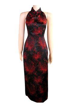 Periwing Black & Red Satin Chrysanthemum Print Backless Chinese Dress Cheongsam - iDreamMart.com