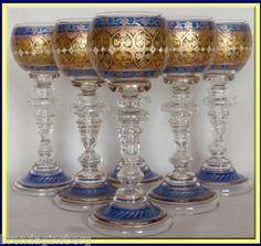 6 Antique Bohemian Wine Glass Goblets Fritz Heckert 1895 Gilded Enamel 3774 | eBay