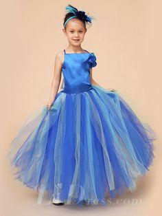 Little Girls Blue Sleeveless Performance Dress Flower Girls Skirt