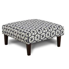 Add a serving tray to this navy blue and white geometric-pattern ottoman and you have the perfect place to store your drinks during a party. (Matching Sectional also available.) Verano Cocktail Ottoman | Weekends Only Furniture and Mattress