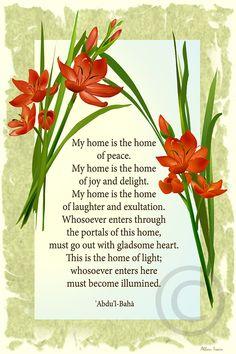 Baha'i writings. Description of home.