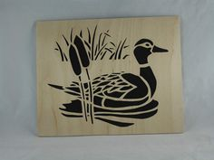 Duck Scene Nature Wall Hanging Wood Art Handmade by @kevskrafts from Birch Wood