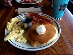 Pancake Bacon and Eggs from The Corner Bakery Houston, Tx