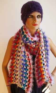 kuschelweicher Schal, Hingucker, kann man auch für elegante Anlässe verwenden Elegant, Shawls, Scarves, Colours, Crochet, Fashion, Cuddling, Classy, Scarfs