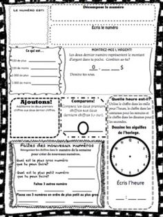 Started with a number of the day for practice with a worksheet much simpler that this one. Once the routine was established, I progressed to the number of the week. Students have the first 5 to 10 minutes of the morning to work on this. French Teacher, French Class, French Lessons, Teaching French, French Numbers, Teaching Resources, Teaching Ideas, French Immersion, Unit Plan