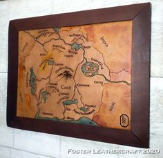 Circle Map, Scale Map, Unique Gifts, Best Gifts, Third Anniversary, Custom Map, Leather Craft, The Fosters, Hand Carved