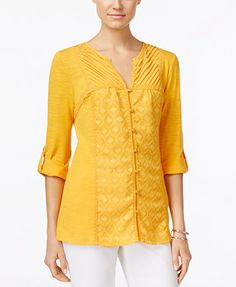 NY Collection Lace-Trim Blouse Qty: 16.49$ Color: Cadmium Yellow Size: L