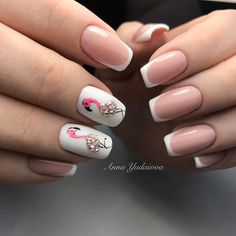 There are a variety of unique nail art designs. Flamingo nail design seems to be the best trend in the current season. Flamingos on white or pink backgrounds are great nail art designs. Of course, Flamingo Nail design is not limited to this, nail art Love Nails, Pretty Nails, My Nails, Glitter Nails, French Nails, Flamingo Nails, Nagellack Trends, Nagel Gel, Stylish Nails