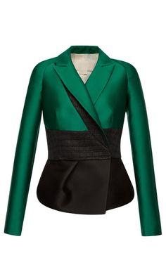 Emerald Silk Scuba Peplum Jacket by Antonio Berardi - Moda Operandi