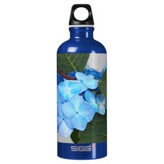 Blue Lacecap Hydrangea Floral Water Bottle - flowers floral flower design unique style