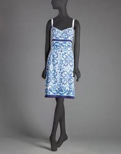 Blue majolica print corseted sheath dress | dolce&gabbana online store